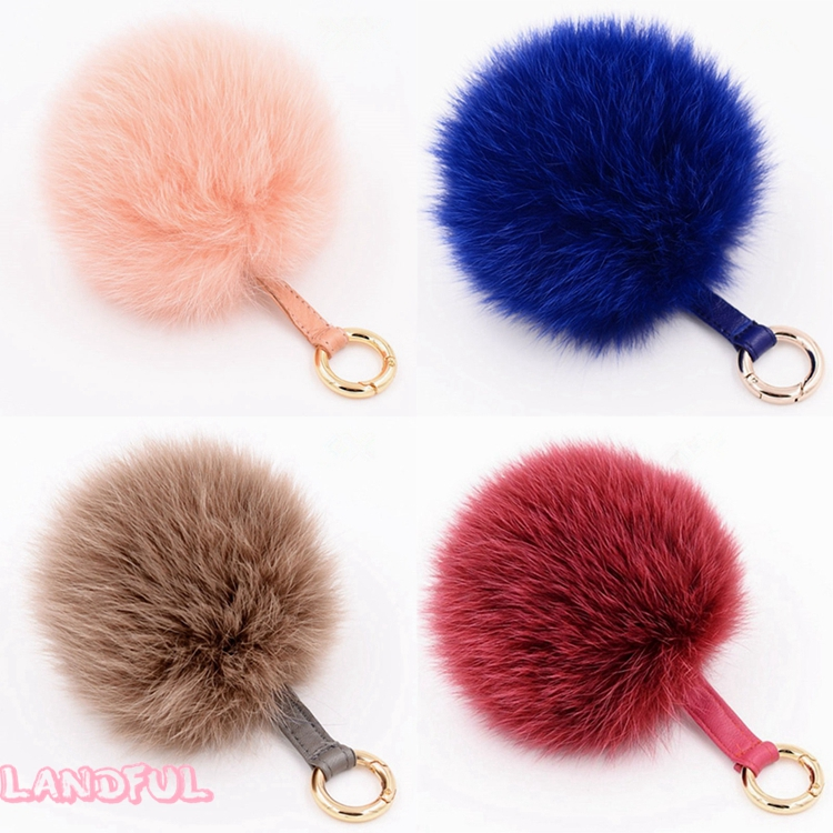 Wholesale Women Girls Faux Fox Fur Pom pom Keyring Keychain Handcraft Gift Bag Charm Accessories