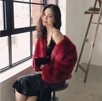 Autumn and Winter Fashion Style Thick Pink Faux Fox Fur Coat Short Coat