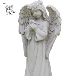 Life size custom stone carving made hot sale little praying angel sculpture marble stone cherub statue MSG-508