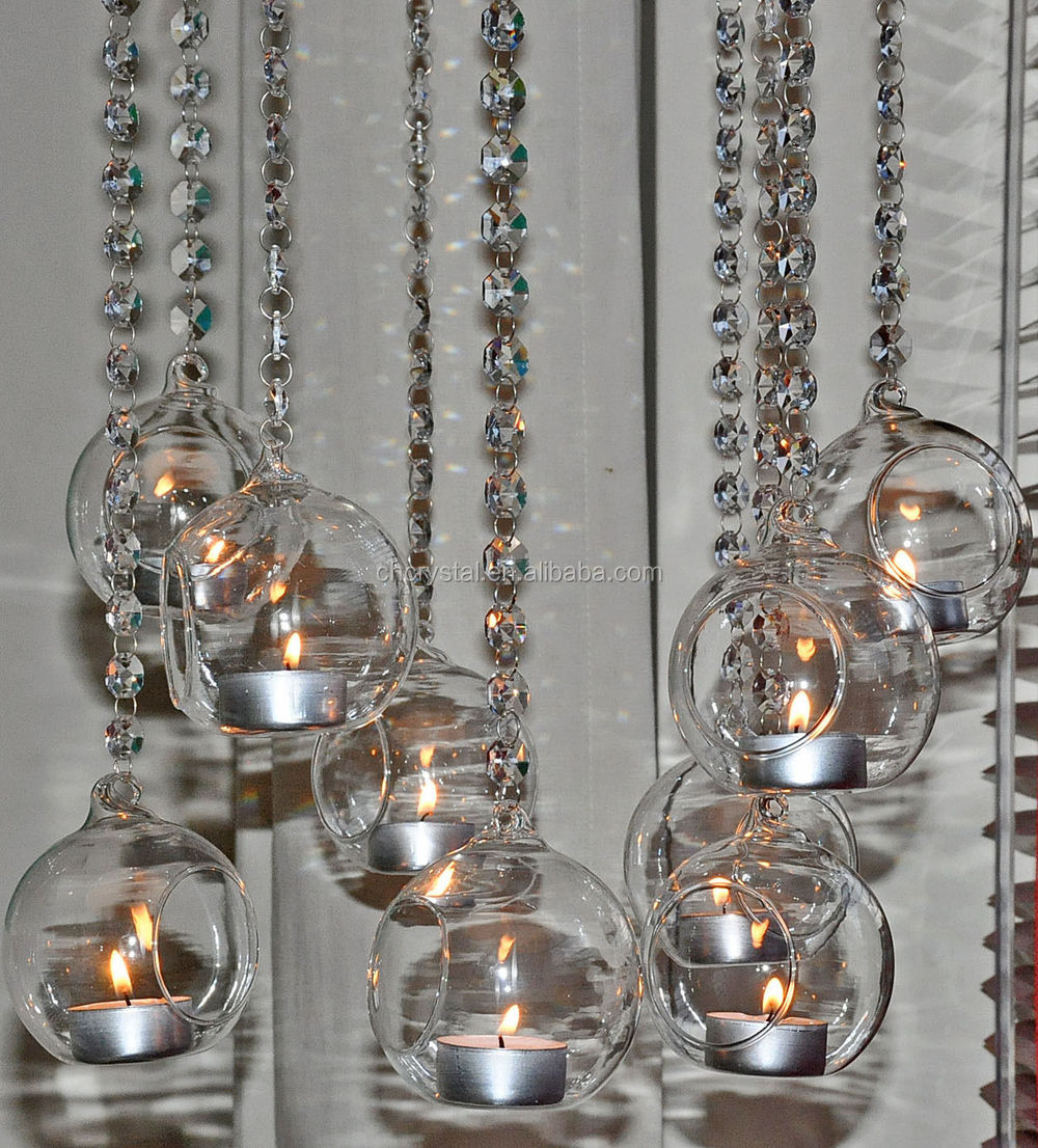 Hanging Glass Globe Candle Holder Beaded Garland For Candles Mh ...