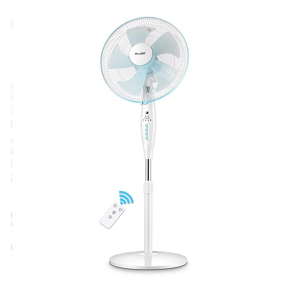 FH Electric fan remote control Vertical Electric fan Stand fan dorm room Desktop Energy saving Shaking his head mechanical Mute (Color : White)