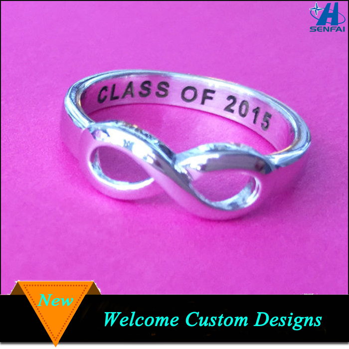 Graduation gifts zinc alloy silver plating customzied engraved class ring