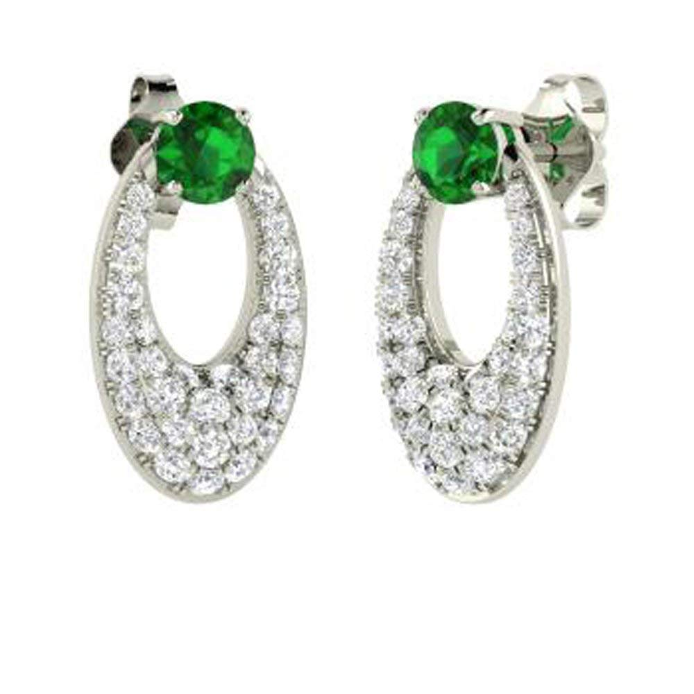 0ec14c6ba Get Quotations · Silvernshine Jewels 1.25 Ct Round Cut Emerald & Simulated  Diamond Drop Earrings In 14K Rose Gold