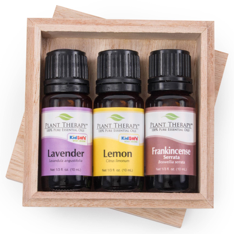Plant Therapy Top 3 Singles Essential Oil Set. 100% Pure, Undiluted, Therapeutic Grade. Includes: Lavender, Lemon and Frankincense Serrata. 10 ml (1/3 oz) each.