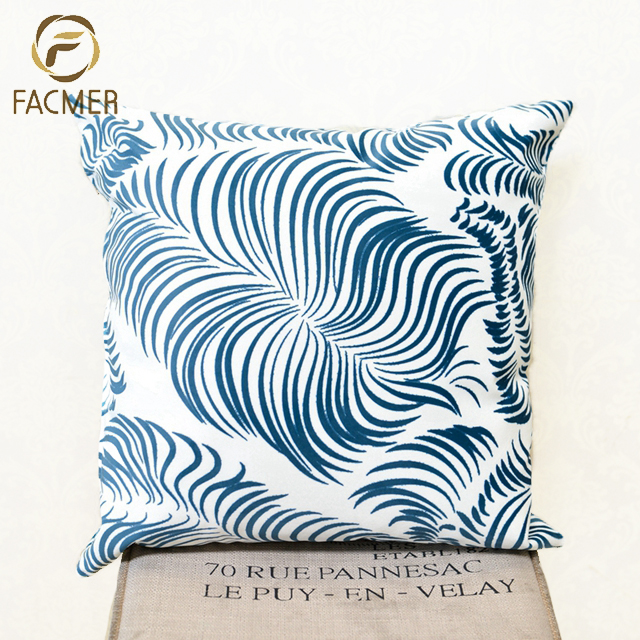 Promotional Digital Printed Custom Design Feather living room decoration Steel Blue Cushion Covers