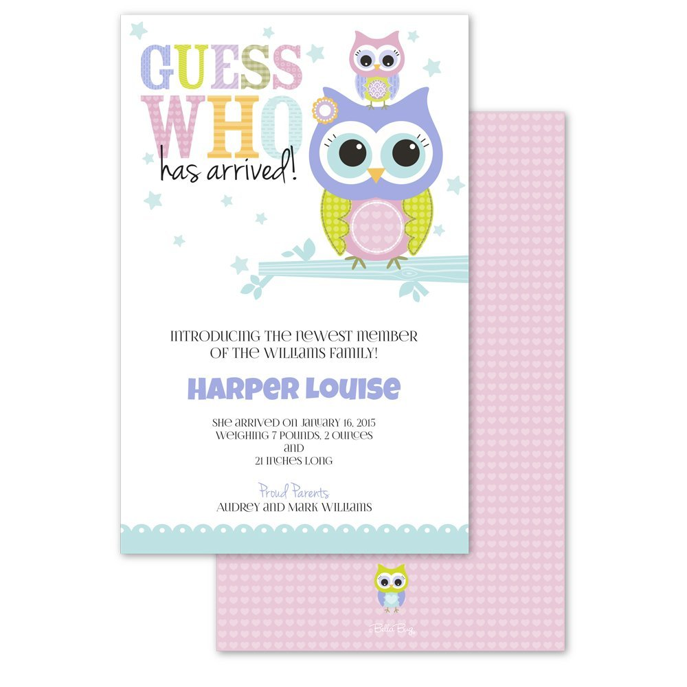 Owl Baby Personalized Birth Announcements Set Of 10