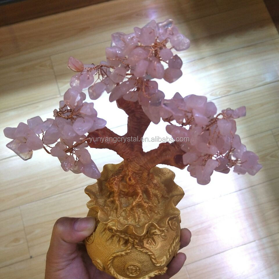Wholesale natural handmade china rose crystal tree for gift