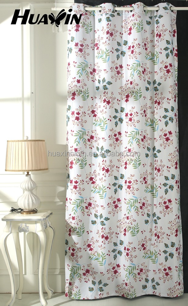 2016 Hot selling 100% polyester flower print in blackout curtain fabric for window