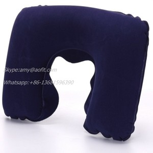 Inflatable U shape flocked neck pillow airplane travel pillow bed rest pillows in home