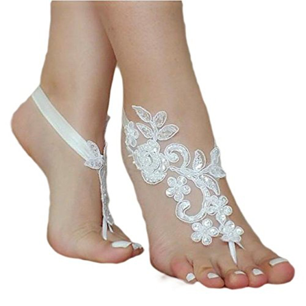 1f8c70d7b35ba9 Get Quotations · SlenyuBridal Lace Anklets Barefoot Sandals Beach Wedding  Bridal Anklet Prom Party Bellydance Accessories