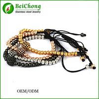 Yiwu Fashion gold jewellery 24k gold stainless steel bracelet beaded jewelry