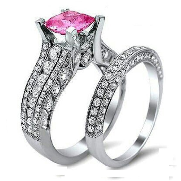 High Quality Silver Micro Pave Pink Big Shiny CZ