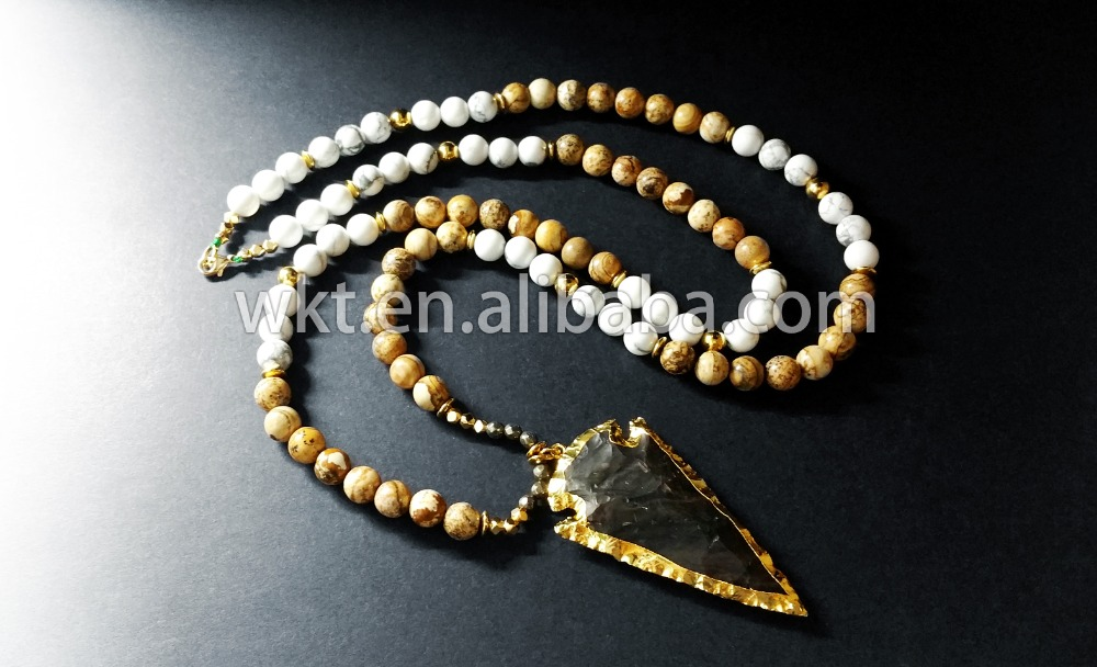 New! Natural Stone Beads Necklace,Raw Agate Arrowhead Pendant ...