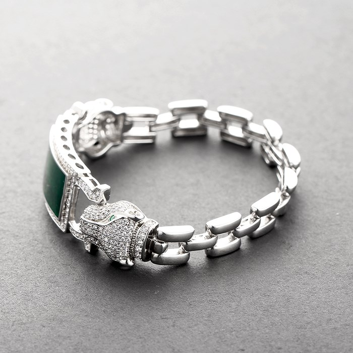 SBG421W Custom 925 Silver Smart Men Jade Stone Bracelet Jewelry