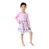 Light Pink Colorful Eggs Printed One Piece Cotton Dress for School Girls