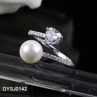 Aliexpress Hot Selling Classic 925 Sterling Silver Heart Cut Cubic Zirconia Natural Freshwater Pearl Ring for Girls as Gifts