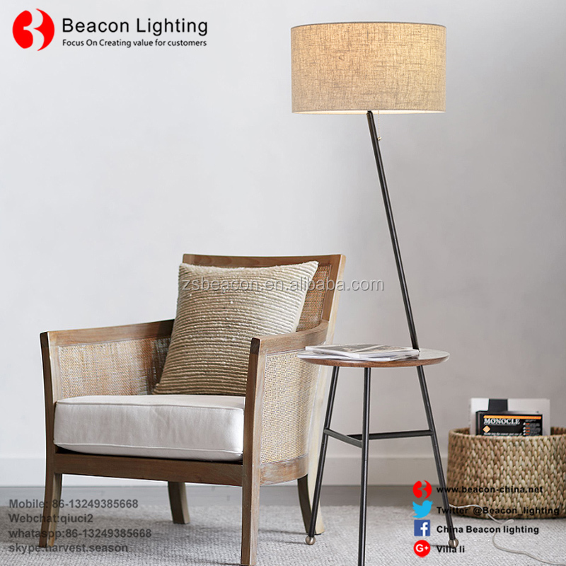 factory directly sale best price good quality new iron wooden body fabric shades with table floor light lamp for home MF16071712