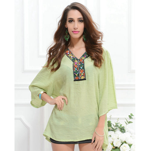 6c335f66e Get Quotations · Loose Linen Top Women Blouses Embroidery Blouse Plus Size  Blusas Femininas Shirt Tropical Beading Tops Camisa