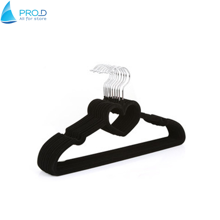 Black High-grade Clothing Store New Hanger Heart Type Flocking Non-slip Hangers
