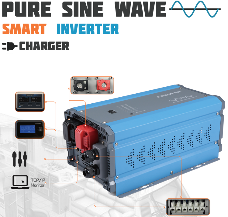 low frequency pure sine wave 6000w car power inverter charger 24vdc 48vdc