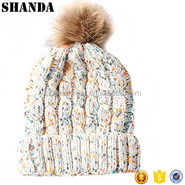 Womens chunky White Multi Cable Knit Beanie Hat with Brown Faux Fur Pompom