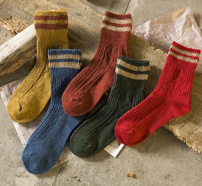 Knitting Pattern Women s Socks : Zm33449a Women Winter Thick Knitting Pattern Cotton Socks ...