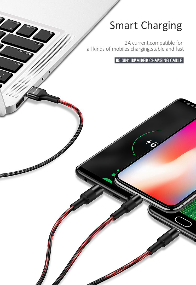 Braided 3.1 Type C Data Charging Micro 3 in1 usb cable For Iphone