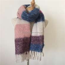 2018 best-selling long colorful plain wool scarf