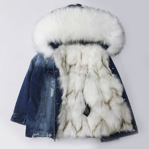 Fantastic Winter Coat Fashion Women Fur Parka Women Real Fox Fur Lined Denim Jacket