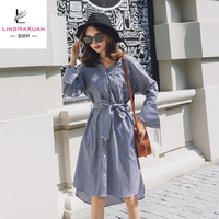 Ladies V-neck line Stripe dress casual dresses