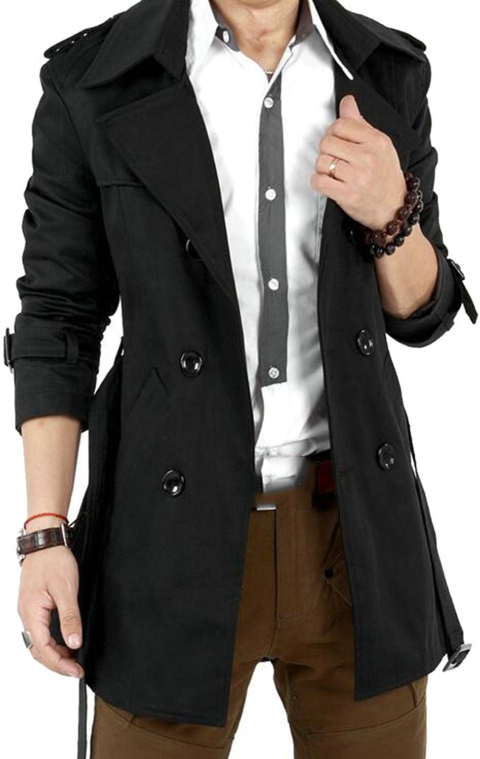 ONTBYB Men's Contemporary Solid Double Breasted Trenchcoat Jacket Clothes