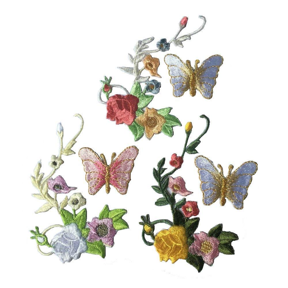 Flower Butterfly Patches Clothing Iron On Embroidered Appliques Stickers Bags Hats DIY Accessories