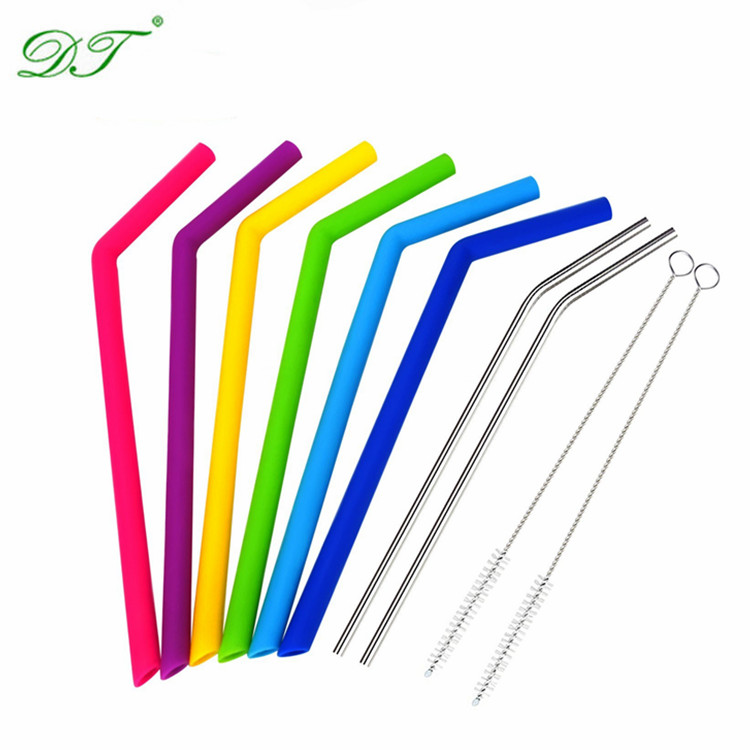 Silicone Straws 6 PACK with Cleaning Brush for Tumbler 30 OZ 20 OZ, RTIC Tumbler