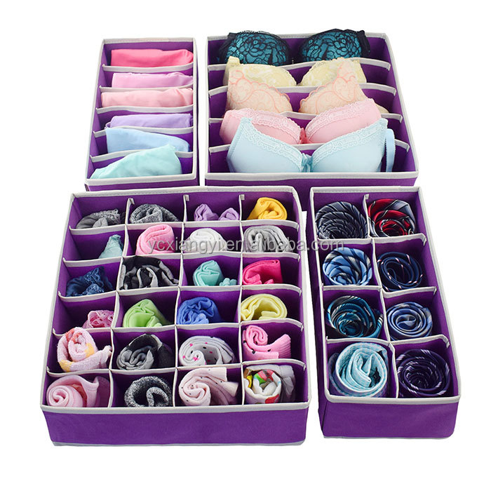 Easy assemble fabric drawer divider storage organizers 4 pack