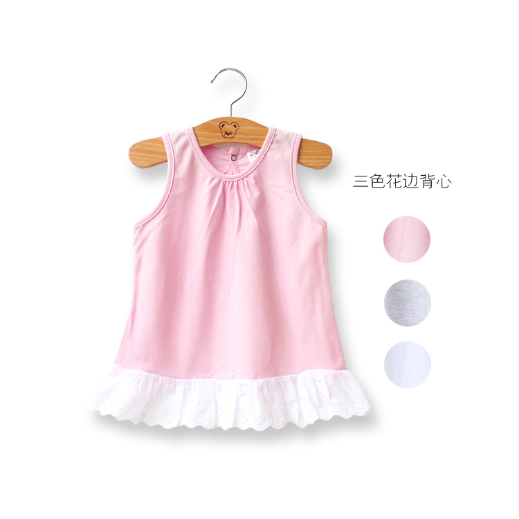2015 summer girl s sleeveless ruched long shirt o neck lolita style solid sweety pink lace