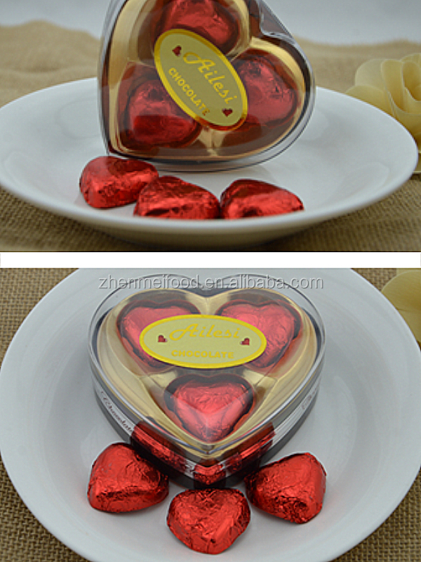 24g heart shape chocolate/chocolate raw material/chocolate prices