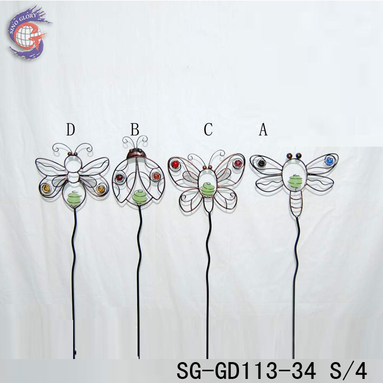 metal decorative garden wire stakes with glow in the dark insect