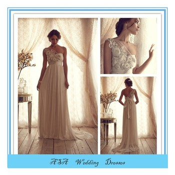 French Style One Shoulder Empire Wedding Dress Flowers Wedding Gown ...