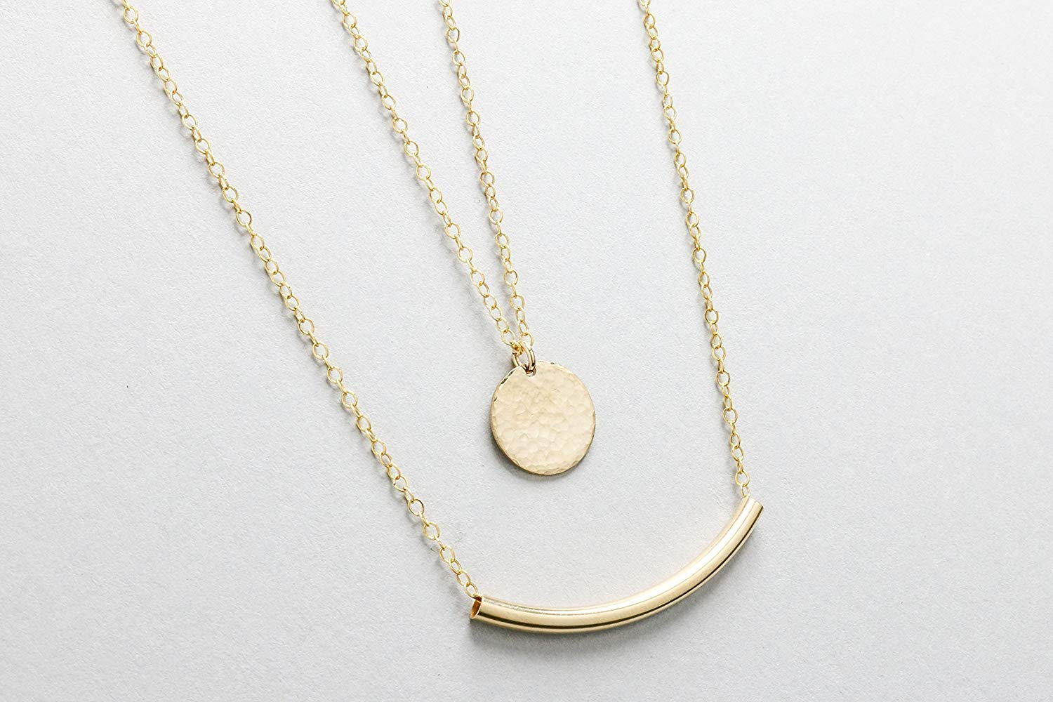 Layered Necklace Set, 14k Gold Filled Necklace Set of 2, Disc Necklace with Curved Tube Necklace, Layered and Long Gold Jewelry Set