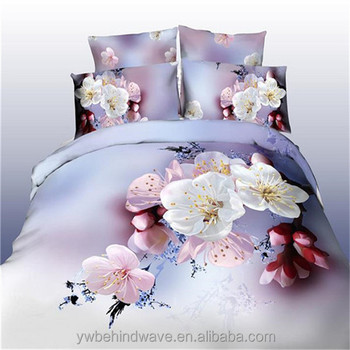 5d Effect Flower Printed 100% Polyester Cross Stitch Bed Sheet
