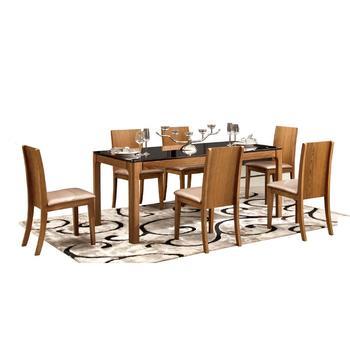 Modern Walnut Rectangular 6 Seater Glass Top Dining Table ...