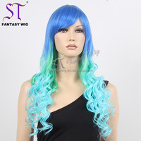 Fantasywig 2017 Popular Color Highlight Green Deep Wave Drag Queen Japanese Synthetic Hair Wig Cheap Wholesale