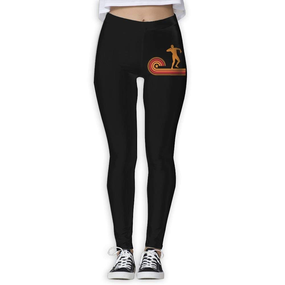 DDCYOGA Retro Style Shot Put Silhouette Track Women's Fold Over Yoga Pants Bike Running Yoga Pants For Girls