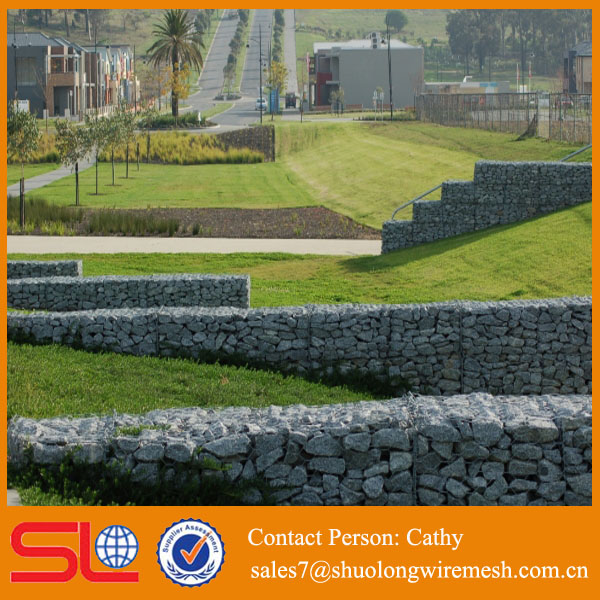 iron steel wire mesh pvc coated gabion box stone cage for low price