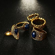 2017 Hot Selling New Retro Gemstone 5 Ring Set Simple Fashion Vintage Pattern Ring Jewelry For Women