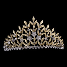 Luxurious Crystal Gold Leaf Tiara Crown Wedding Hair Accessories Bridal Hair Jewelry