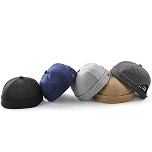 Wholesale Top Buttons Custom Size Fitted Brimless Cotton Visorless Brimless Baseball Hat Cap Without Visor