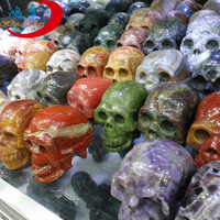 Fashion natural mixed gemstone carved skull for special offer/crystal stone skull for sale or decoration