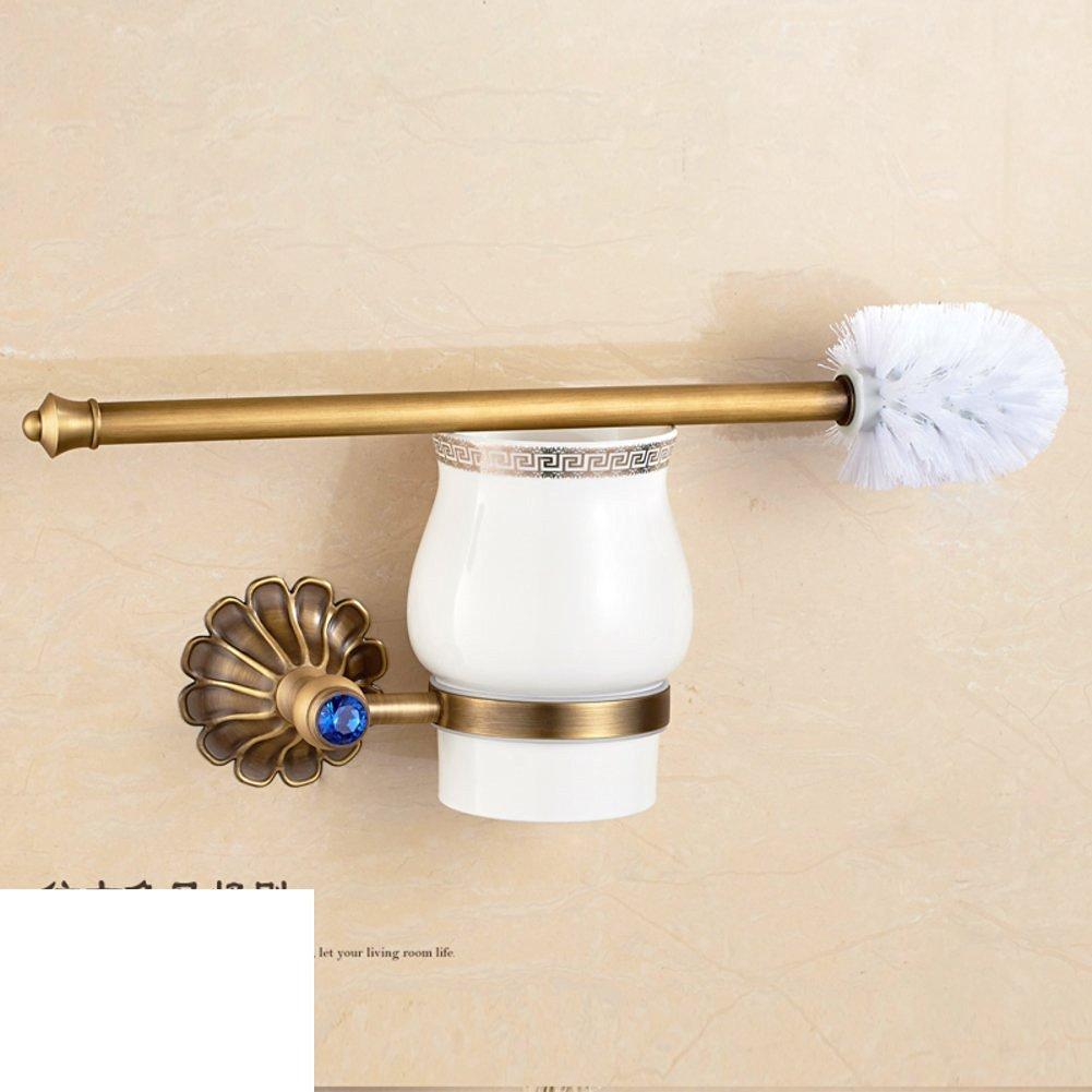 All copper metal pendant wall-mounted/European retro black bronze toilet brush holder suit/Black antique gilded toilet brush-A