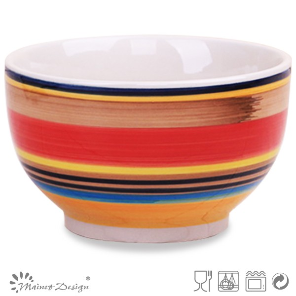 Stoneware Rice Bowl Cheap Color Strip Ceramic Cereal Bowl
